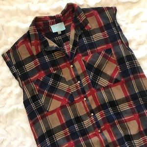 Skies Are Blue Plaid Button Down Oversized Sheer